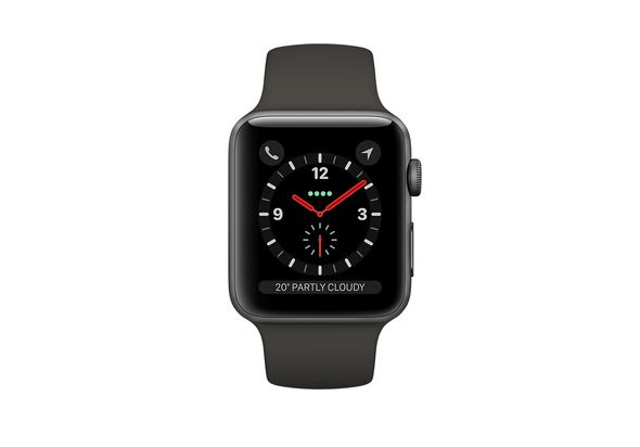 Apple Watch Series 3 with Cellular 42mm Space Gray Aluminum Case with Gray Sport Band