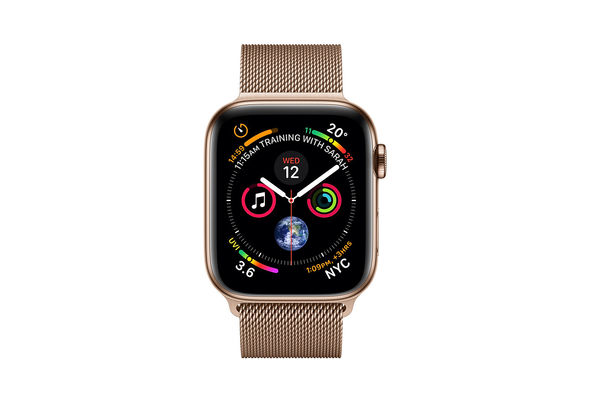 Apple Watch Series 4 44mm Gold Stainless Steel Case with Gold Milanese Loop