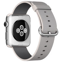 Apple 38mm Stainless Steel Case With Pearl Woven Nylond Band For Apple Watch, Silver