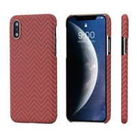 Pitaka MagEZ Case for iPhone Xs, Red/Orange (Herringbone)