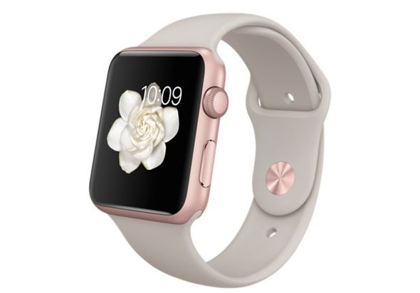 Apple Watch Sport, 42mm Rose Gold Aluminum Case with Stone Sport Band