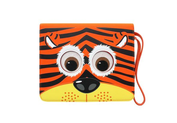 TabZoo App Folio Case Cover with Built-In Stand for 10-11  Tablets, Tiger