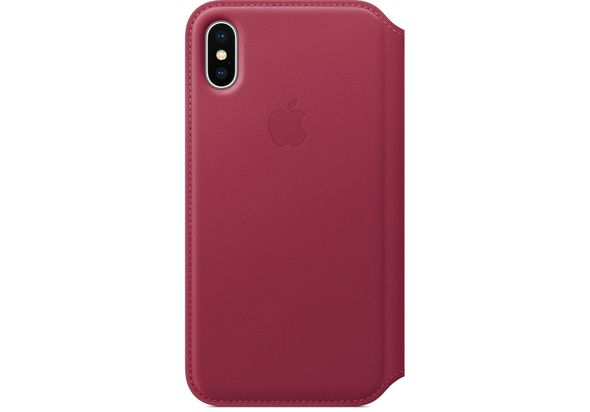 Apple iPhone X Leather Folio, Berry