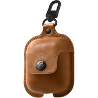 Twelve South AirSnap Leather Road Case for AirPods, Cognac