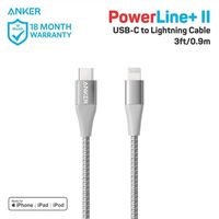 Anker PowerLine+ II USB-C to Lightning (0.9m/3ft) -Silver (A8652H41)