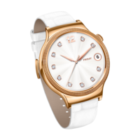 HUAWEI Smart Watch (Ladies) W1 - Swarovsky– Rose Gold Case White Leather Band