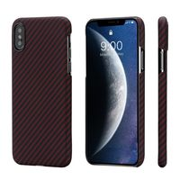 Pitaka MagEZ Case for iPhone Xs, Black/Red (Twill)