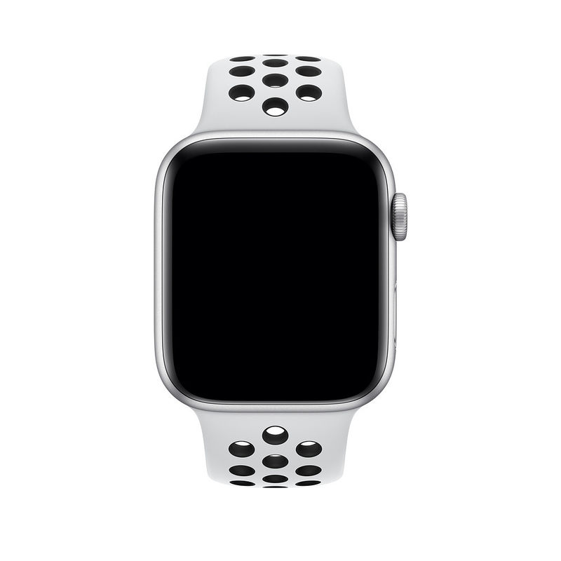 hot sale online 6a5ff e7136 Apple Watch Nike+ Series 4 Silver Aluminum Case with Pure Platinum/Black  Nike Sport Band