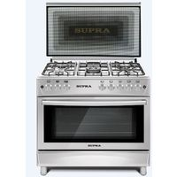 Supra 90 x 60 - 5 Burner Gas Cooker, Oven, Grill and Rotisserie, Full Safety, Cast Iron, Separate Knobs for Oven & Grill