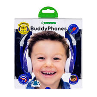 BuddyPhones Connect On-Ear Wired Headphones- Blue
