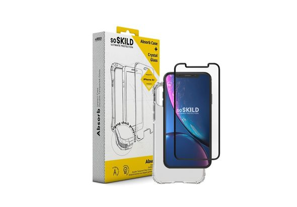 SoSkild Absorb Impact Case Transparent and Tempered Glass for iPhone XR