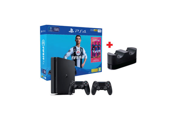 Sony PlayStation 4 Slim 1TB Console with FIFA 19 and Additional Controller and Charging Station