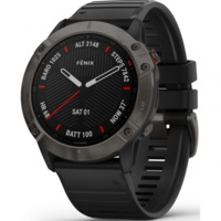 Garmin Fenix 6X Sapphire Edition Multisport GPS Watch, Grey/Black