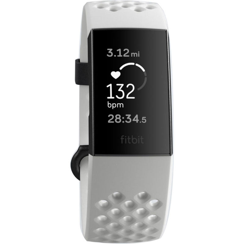 Fitbit Charge 3 Fitness Wristband Special Edition, Frost White  Sport/Graphite Aluminum