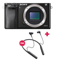 Sony Alpha a6000 Mirrorless Digital Camera with Wireless Noise-Canceling In-Ear Headphones