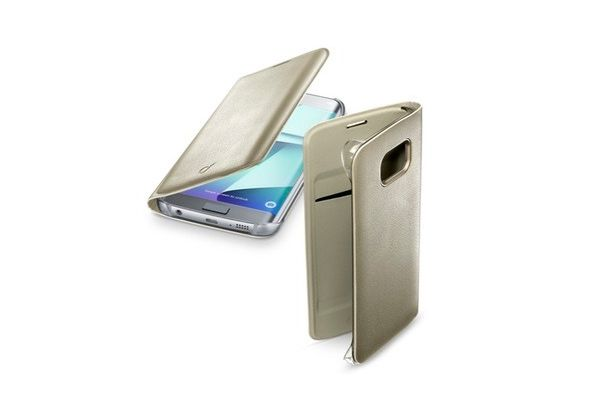 Cellular Line Flip Book Case Gold For Galaxy S7 Edge, Gold