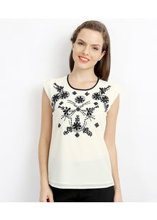 Embellished Shell Top,  cream, l