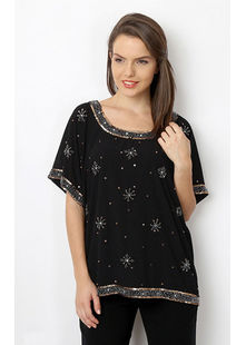 All over embroidered Top,  black, s