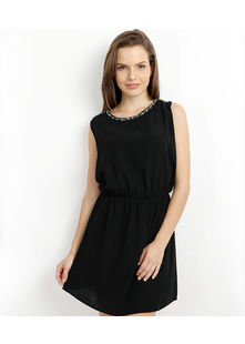 Mini Dress with Necklace embroidery,  black, s