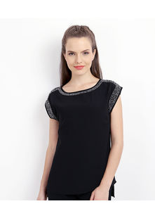 Tunic Top shoulder sleeve outline embroidery,  black, s