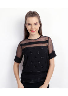 Sheer & Block stripe top,  black, xl