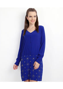 Embelished Skirt combined Dress,  blue, xl