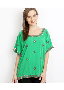 All over embroidered Top,  mint green, m