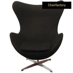 Arne Jacobsen Style Egg Black Chair Replica