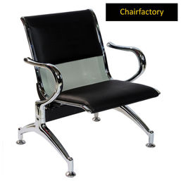 Glacier One Seater Silver Airport Waiting Area Chair With Black Cushion, white