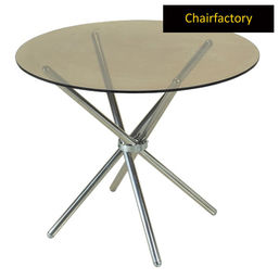 Tolga SS Glass Table, 3  diameter glass top
