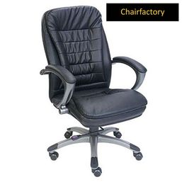 Chester Mid Back Leather Chair, black