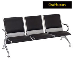 Glacier 3 Seater Silver Airport Waiting Area Bench With Black Cushion, lavender