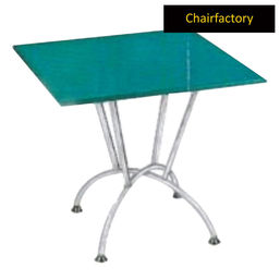 Elsey Classic Glass Table With Stainless Steel Frame, 3  x 3  glass top