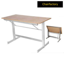Walt Folding Steel Table With Wooden Laminated Top, 4  x 2  laminated top