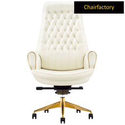 Mogul King Size High Back 100% Genuine Leather Chair, white
