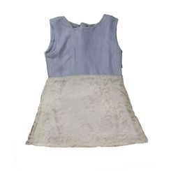 summer denim and white lace flare dress, 18-24months, denim and white