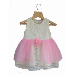 Tiny Toddler White lace and Pink Dress, 0-6months, white