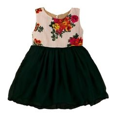 Tiny toddler - summer green floral printed dress with black satin bottom frills, 12-18months, green