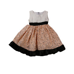 summer white and peach floral printed dress with black satin bottom frills, 0-6months, white and peach
