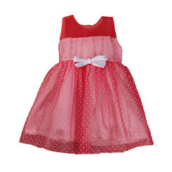 Party Dress -Polka dot net flare dress with white bow, 2-3yrs, pink