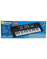 BIGFUN 37 Keys Electronic Piano with Microphone, Black and white