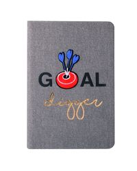 "Doodle Iron On Patch Bull's Eye Diary Notebook, PU Leather, Hard Bound, Ruled, 200 Pages, 80 GSM, A5 (8.5"" x 5.5"" ) , Grey"