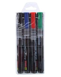 7270002 Permanent Marker 4 Pc Set Asort - Black, Blue, Red, Green