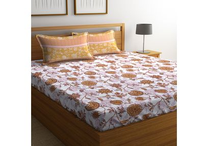 100% Cotton Bedsheets For Double Bed With 2 Pillow Covers, Dreamscape 140 TC Floral Printed Bedsheet, double, orange