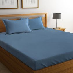 Satin Bed sheet 400 Thread Count with Two Pillowcovers, 100% Cotton, double, blue