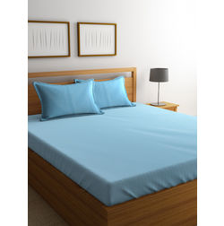 Dreamscape 100% Cotton 220TC One Bed sheet With Two Pillow Covers, royal blue, double