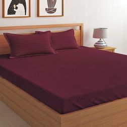 Satin Bed sheet with Two Pillowcovers, 100% Cotton 300 Thread Count, double, maroon