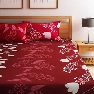 Home Ecstasy 100% Cotton 140TC One Bed sheet With Two Pillow Covers, double, red