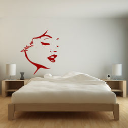 Kakshyaachitra Face Wall Stickers For Bedroom And Living Room, red, 48 56 inches