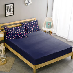 Double Bed Sheet With Two Pillow Covers BS-33, double, blue